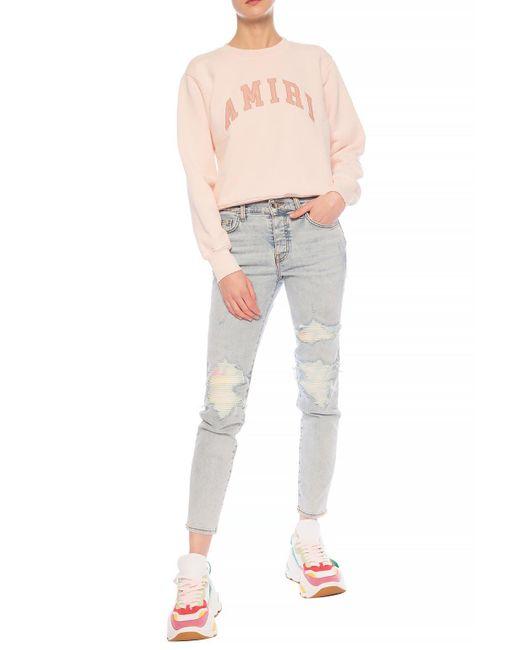 Amiri Pink Sweatshirt With Leather Logo