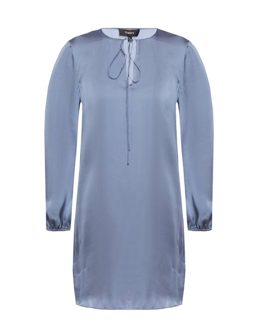 Theory Blue Silk Dress With Tie Fastening