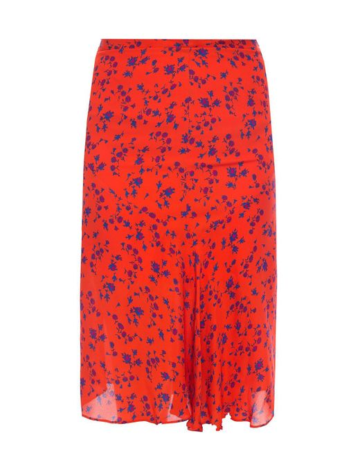 McQ Alexander McQueen Red Patterned Skirt