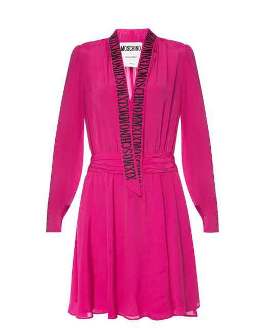 Moschino Pink Silk Dress With Tie Fastening