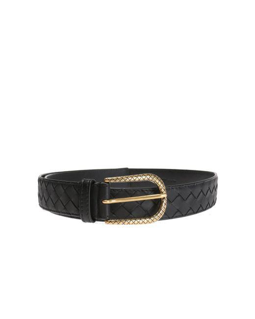 Bottega Veneta - Black 'intrecciato' Belt - Lyst