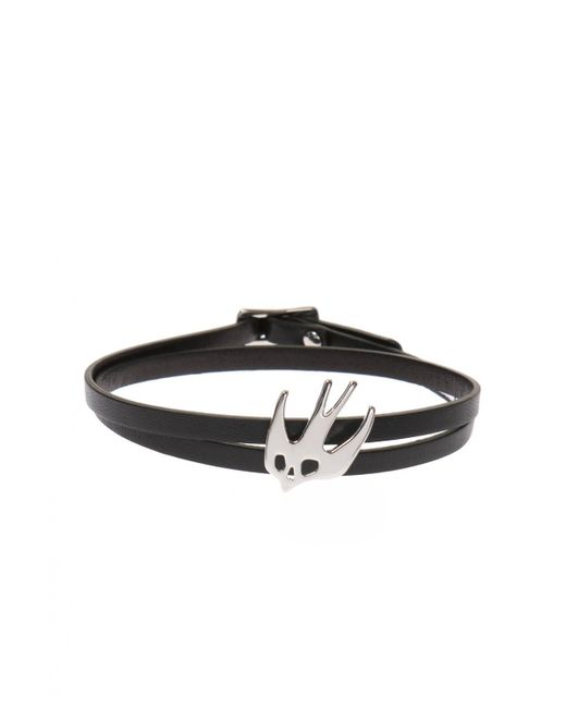 McQ Alexander McQueen - Black Triple Leather Bracelet - Lyst