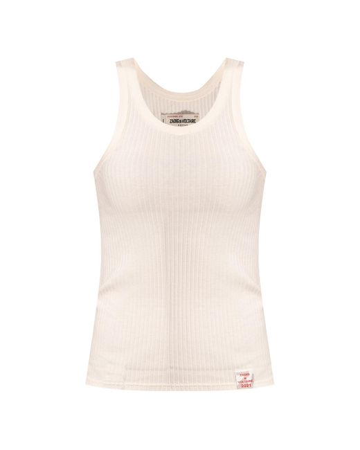 Zadig & Voltaire Natural Ribbed Tank Top Cream