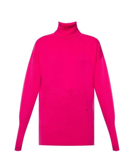 Victoria Beckham Pink Cashmere Turtleneck Sweater