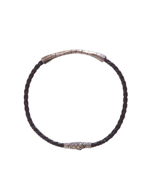 Bottega Veneta - Black Silver Detail Leather Bracelet for Men - Lyst