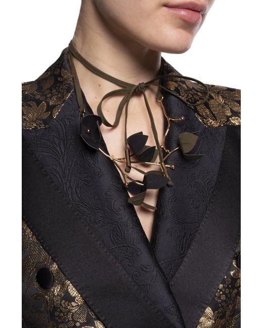 Marni Black Flora Foliate Necklace