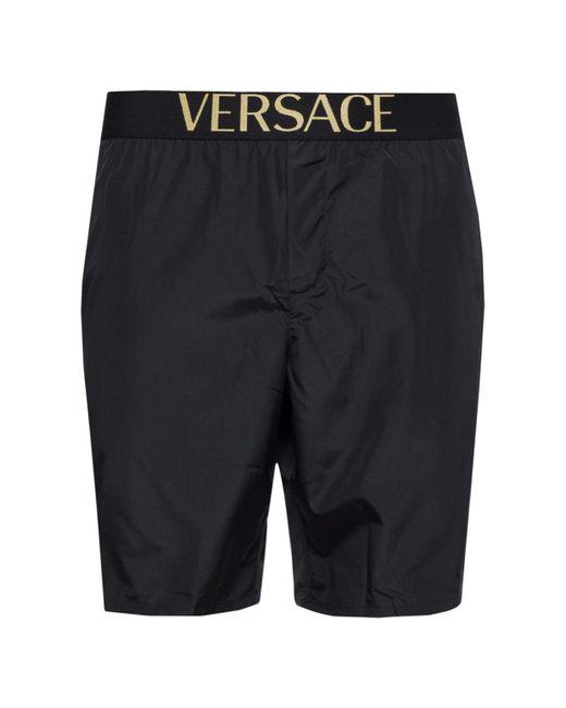 Versace - Black Logo Swim Shorts for Men - Lyst