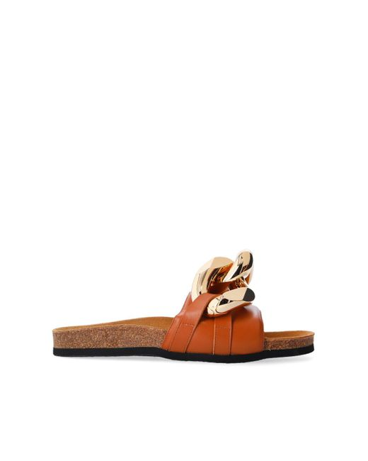 J.W. Anderson Brown Leather Slides