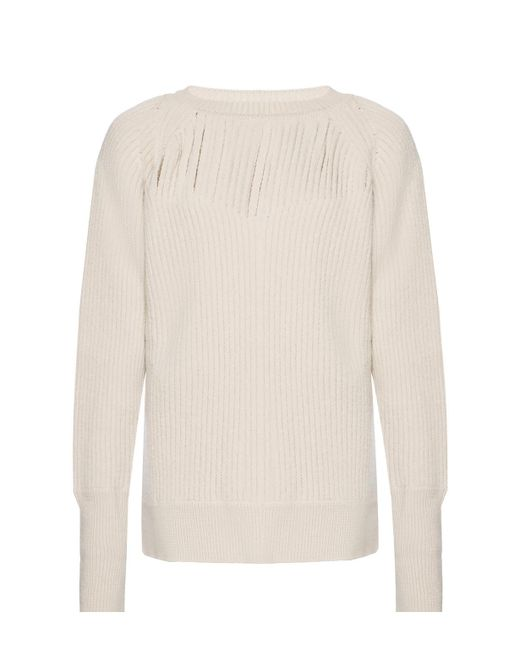 1a675f34ea Maison Margiela - White Cut-out Sweater - Lyst ...