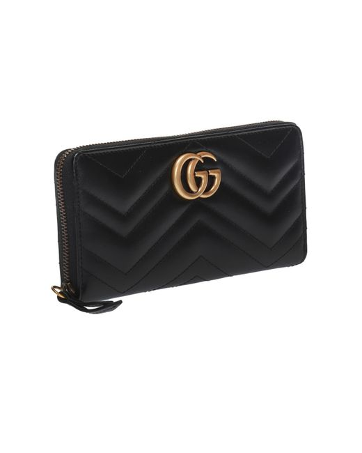 7c1c48d54 Gucci GG Marmont Medium Quilted Zip Wallet in Black - Save 39% - Lyst