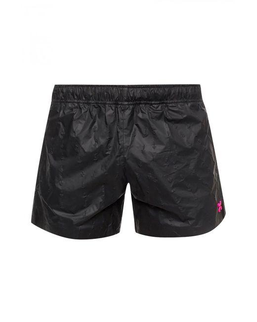 Off-White c/o Virgil Abloh Black Appliquéd Swimming Shorts for men