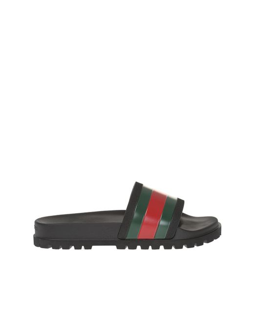 a767a878a Gucci Striped Web Rubber Slides in Black for Men - Save 64% - Lyst