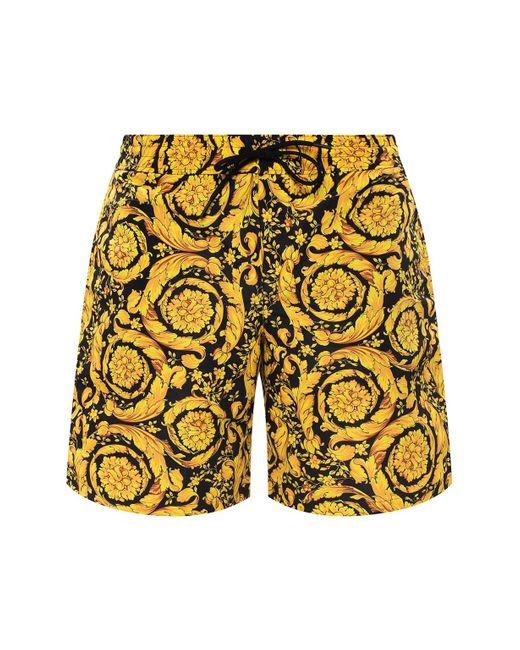 Versace Barocco-printed Swim Shorts Yellow for men