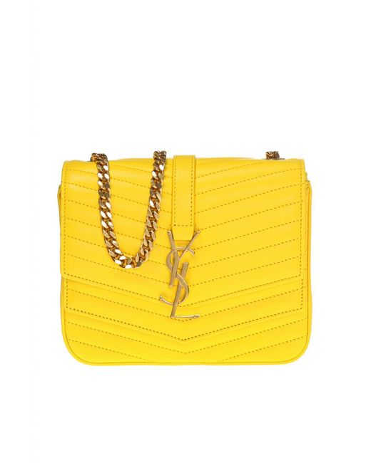 d36715f9bd20 Lyst - Saint Laurent  sulpice Monogram  Quilted Shoulder Bag in Yellow