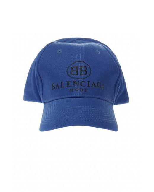 Balenciaga - Blue Embroidered Logo Baseball Cap for Men - Lyst