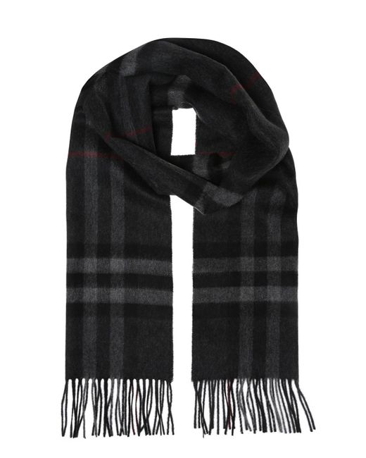 Burberry - Gray Checked Scarf for Men - Lyst