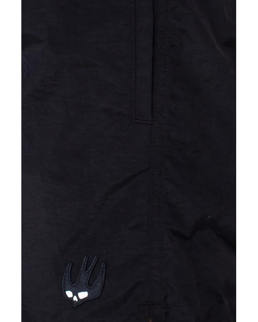 Mcq Men's Black Patched Swimming Shorts