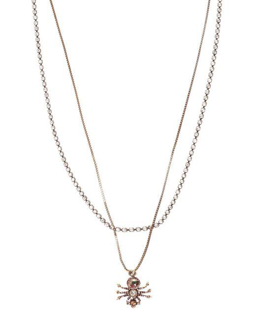 Alexander McQueen Metallic Double Necklace With Pendant