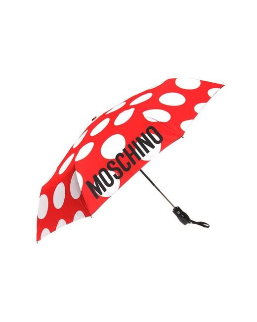 Moschino - Red Logo-printed Umbrella - Lyst