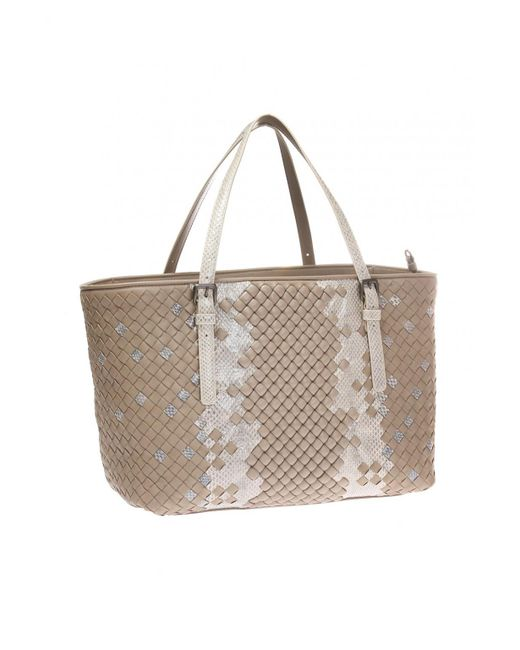 aeedaa4345f8 ... Bottega Veneta - Brown Snake Skin Shoulder Bag - Lyst ...