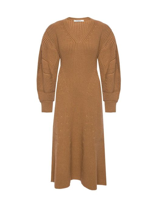 Givenchy Brown Woven Dress With Sweater Motif