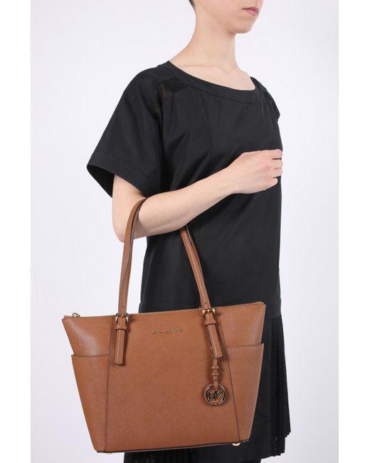 Michael Kors Brown 'jet Set Item' Leather Shoulder Bag