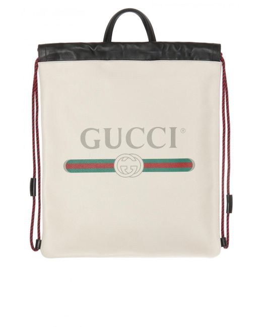 6a83de2662bc Gucci - White Printed Logo Backpack for Men - Lyst ...