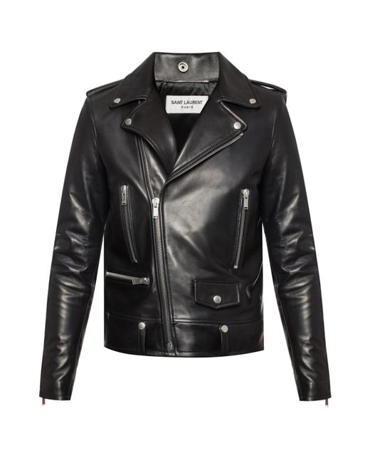 Saint Laurent Black Leather Biker for men