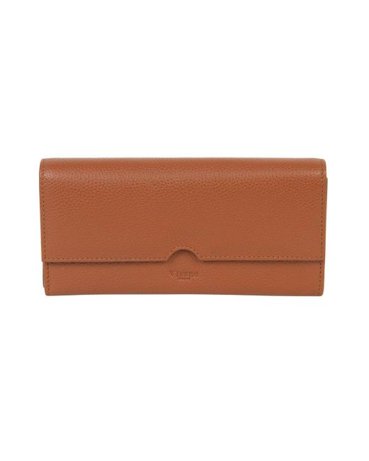 vivano-london Brown Large Flap Over Continental Wallet