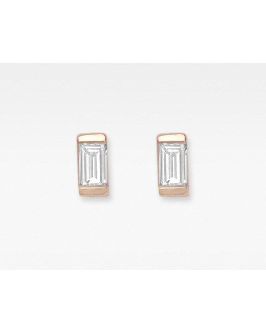 Vrai & Oro   Metallic Baguette Diamond Earrings   Lyst