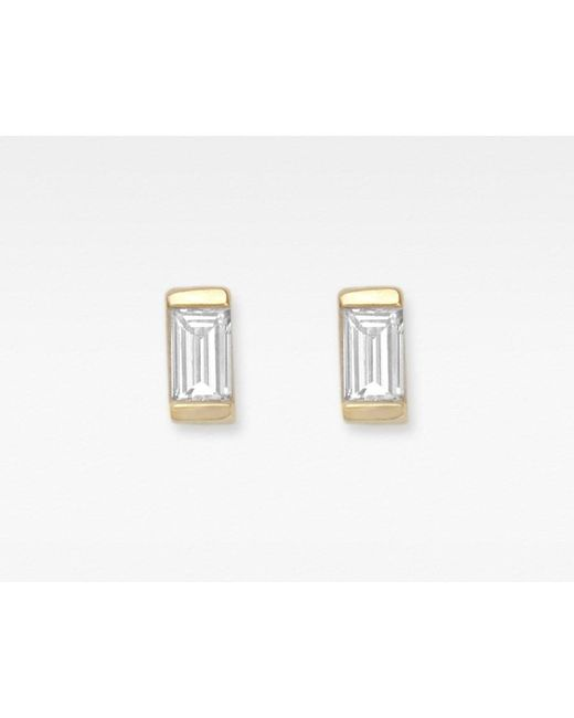 Vrai & Oro | White Baguette Diamond Earrings | Lyst