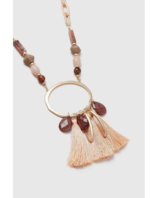Wallis - Orange Arge Statement Beaded Tassel Necklace - Lyst