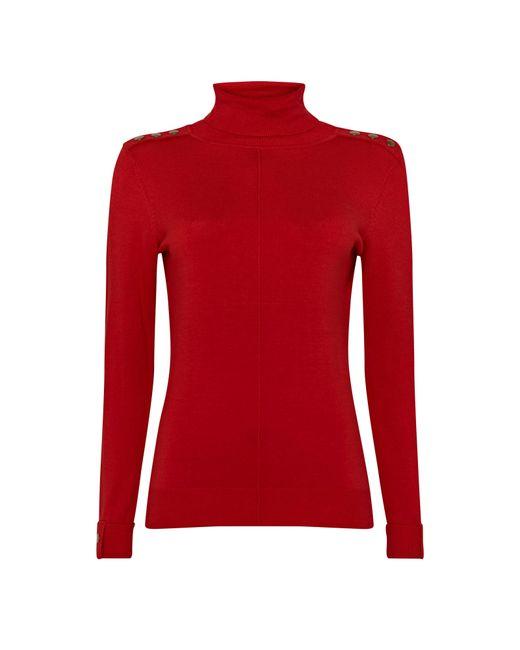 Wallis **tall Red Stud Polo Neck Jumper