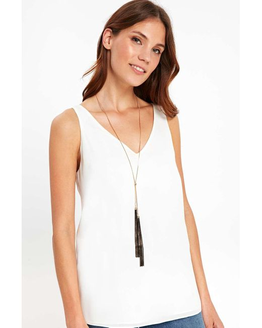 Wallis | Gold Skinny Black Tassel Lariat Necklace | Lyst