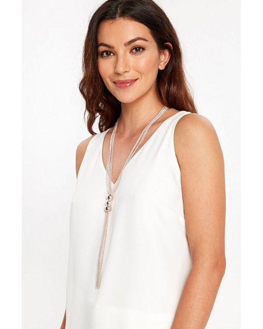 Wallis - Gray Ball And Chain Lariat Necklace - Lyst