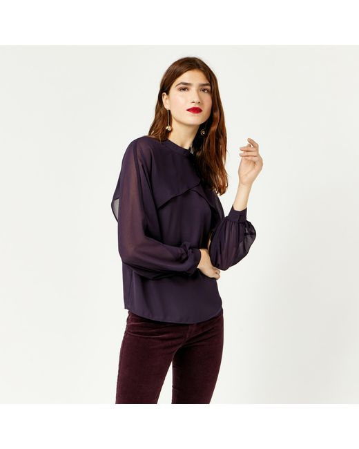 Warehouse | Purple Layered Cape Top | Lyst