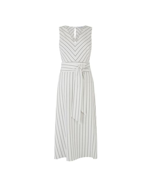 Warehouse Multicolor Stripe V Neck Midi Dress