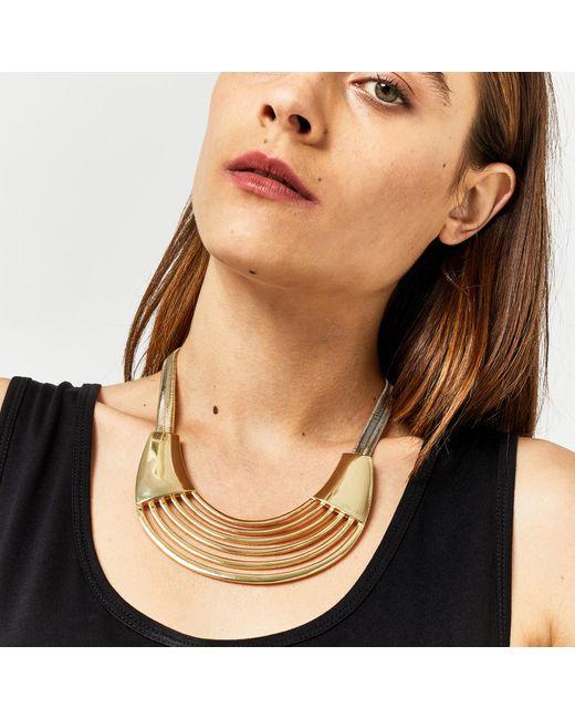 Warehouse | Metallic Statement Plate Necklace | Lyst