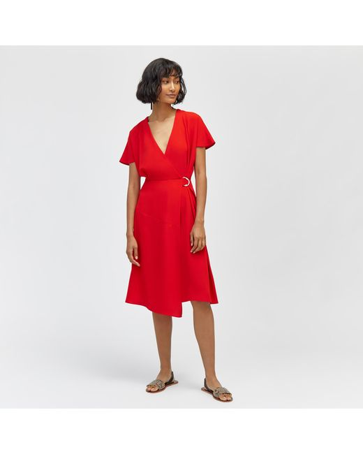 b183c0cd109 Warehouse Crepe Wrap Dress in Red - Save 16.66666666666667% - Lyst