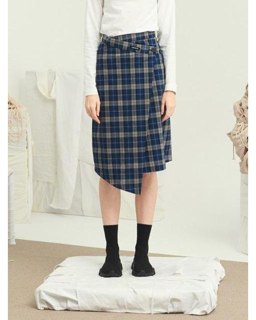 13Month Check Midi Wrap Skirt Blue