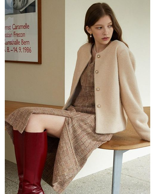 F.COCOROMIZ Natural Pearl Knit Cardigan