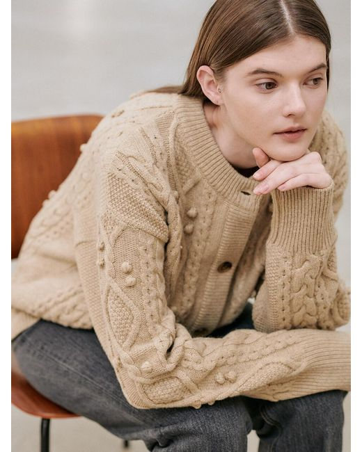 NILBY P Natural Cable Cardigan