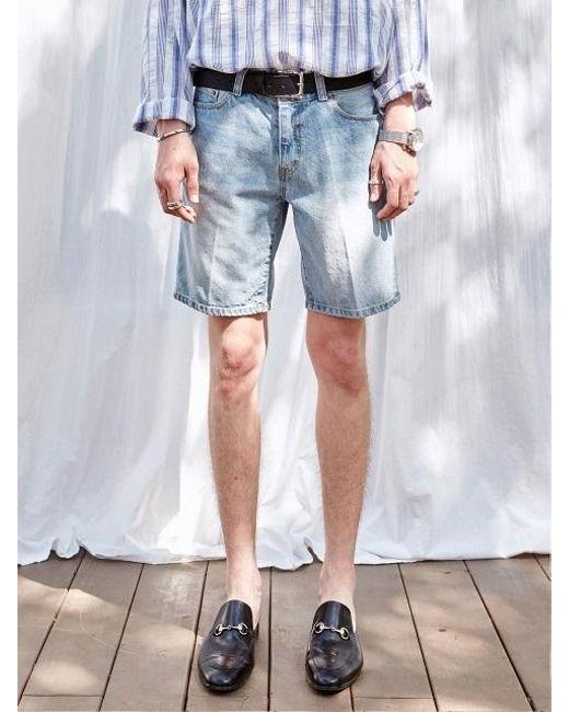 YAN13 - Blue Natural Washing Denim Shorts_denim for Men - Lyst