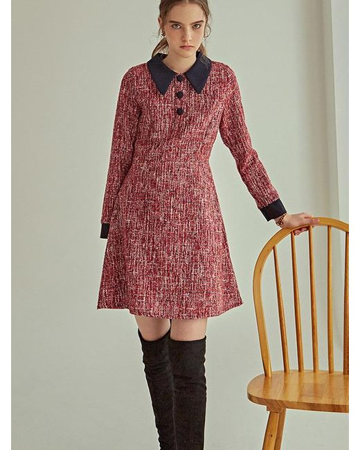 YAN13 Red Tweed Mini Dress