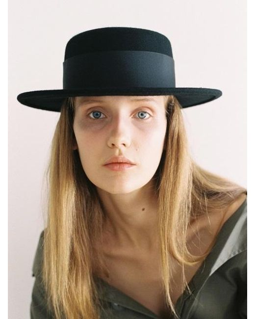 AWESOME NEEDS - Lambs Wool Boater Hat_black - Lyst