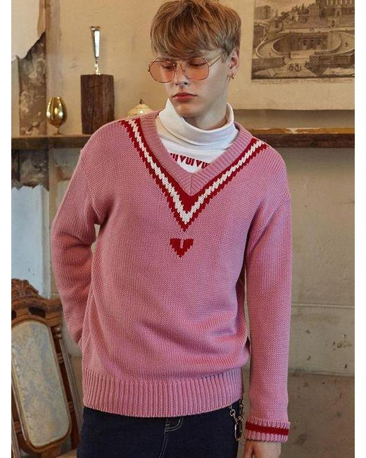 VVV [unisex] Logo Pink V-neck Pullover