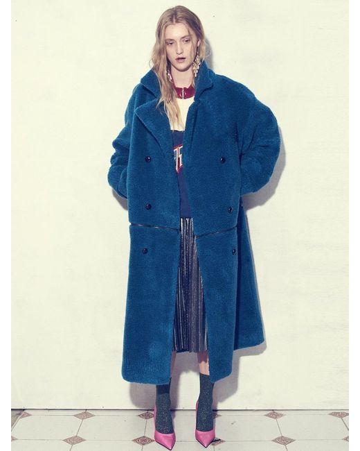 UNTAGE Blue [unisex]uto-fc04 Reversible Lambswool Fur Coat Blu
