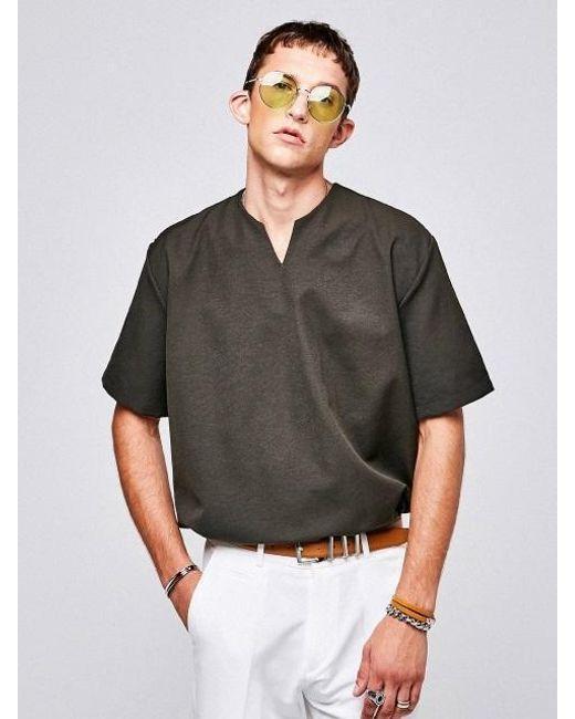 YAN13 | Multicolor V Neck Half Shirts Khaki for Men | Lyst