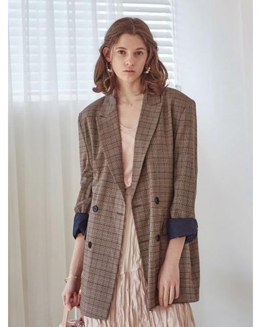 YAN13 Brown Double Check Jacket