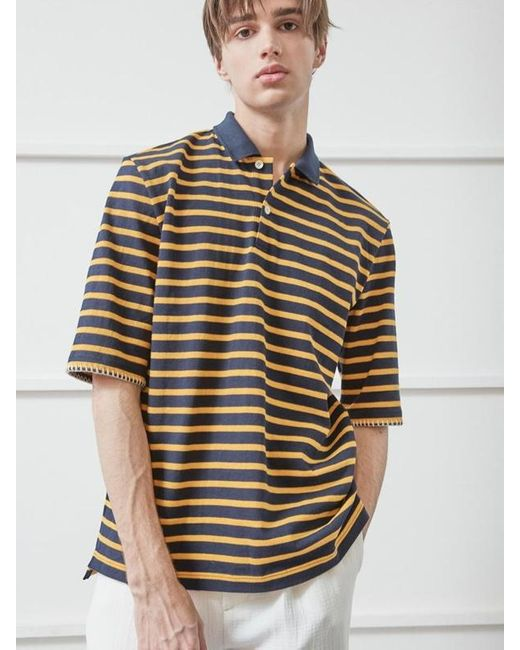 NOHANT Multicolor Whipstitch Pique Shirt Stripe for men